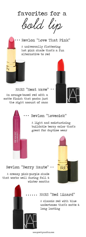 5 Favorite Bold Lipstick Colors.