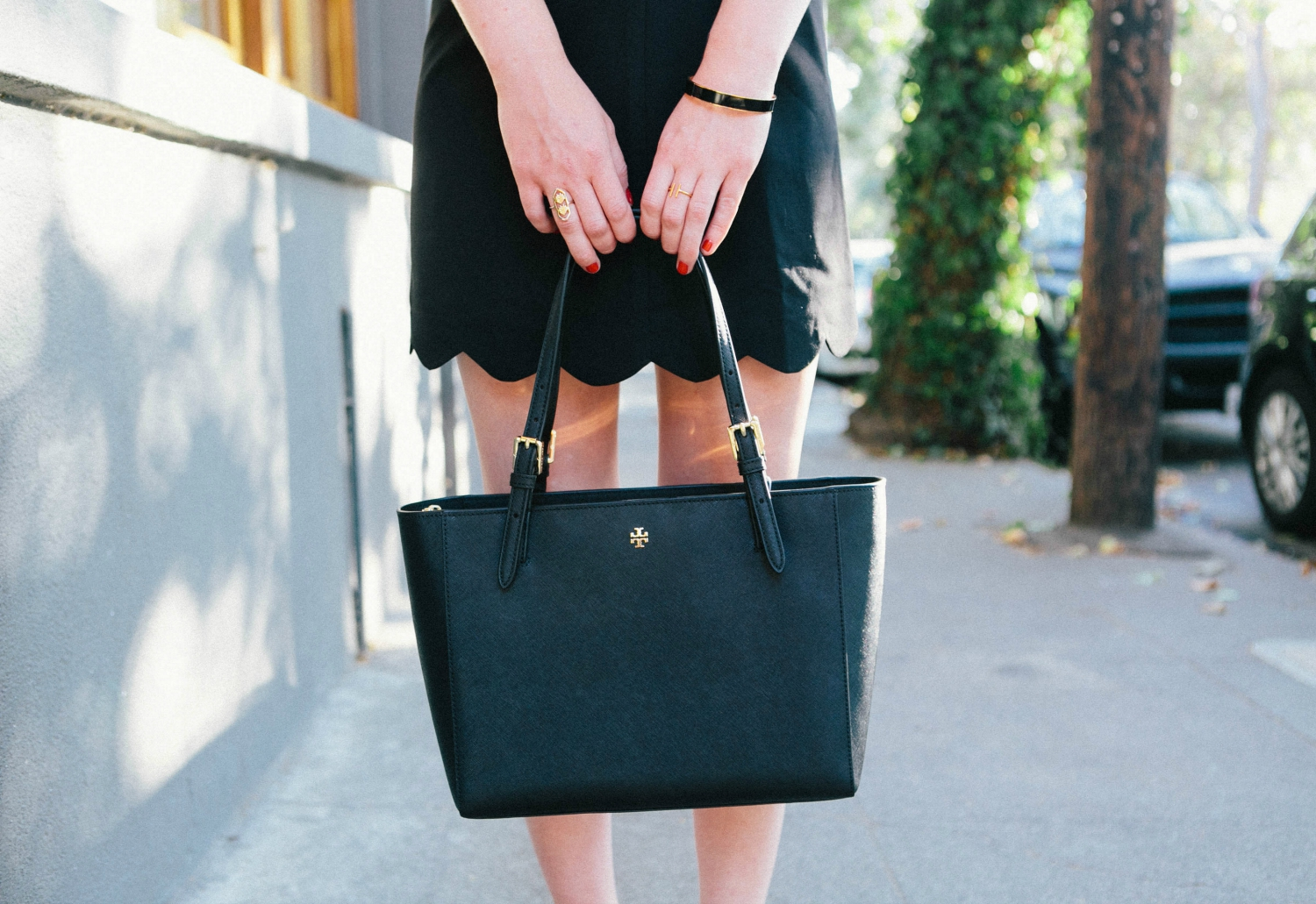 Tory Burch Tote with Scalloped Skirt.