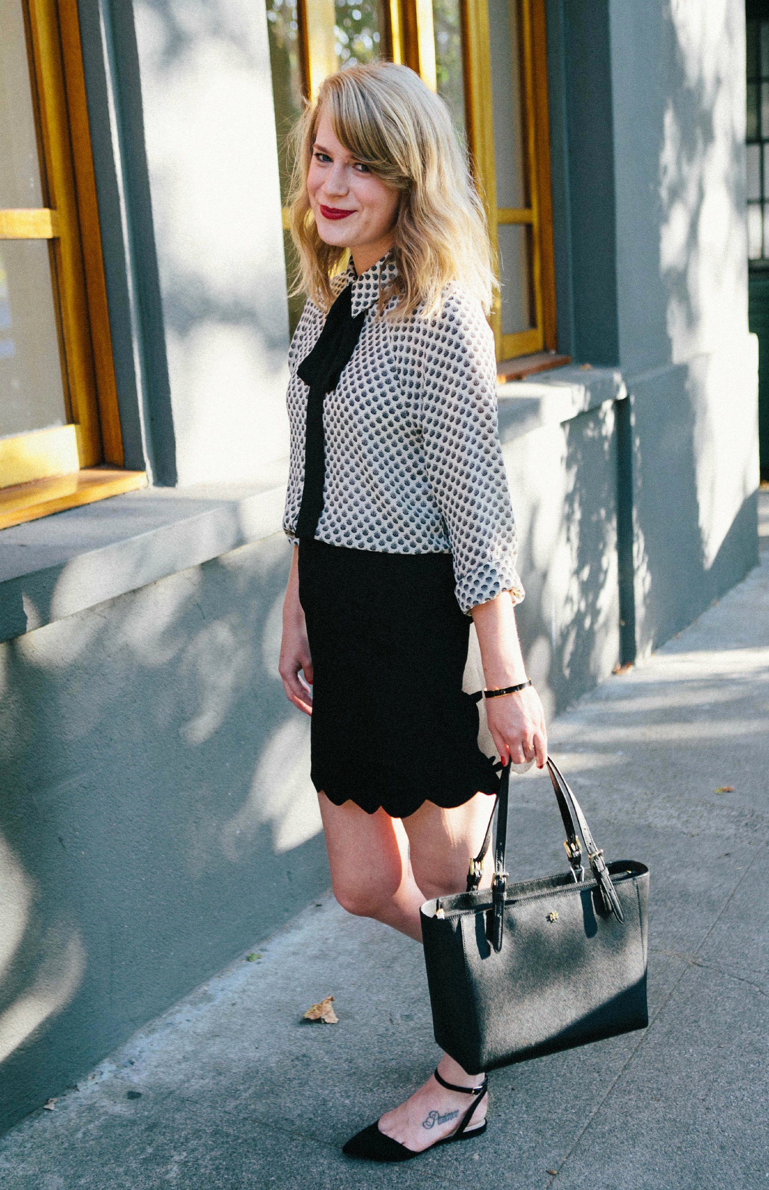 Work Outfit // Scalloped Skirt with Tie Neck Blouse.