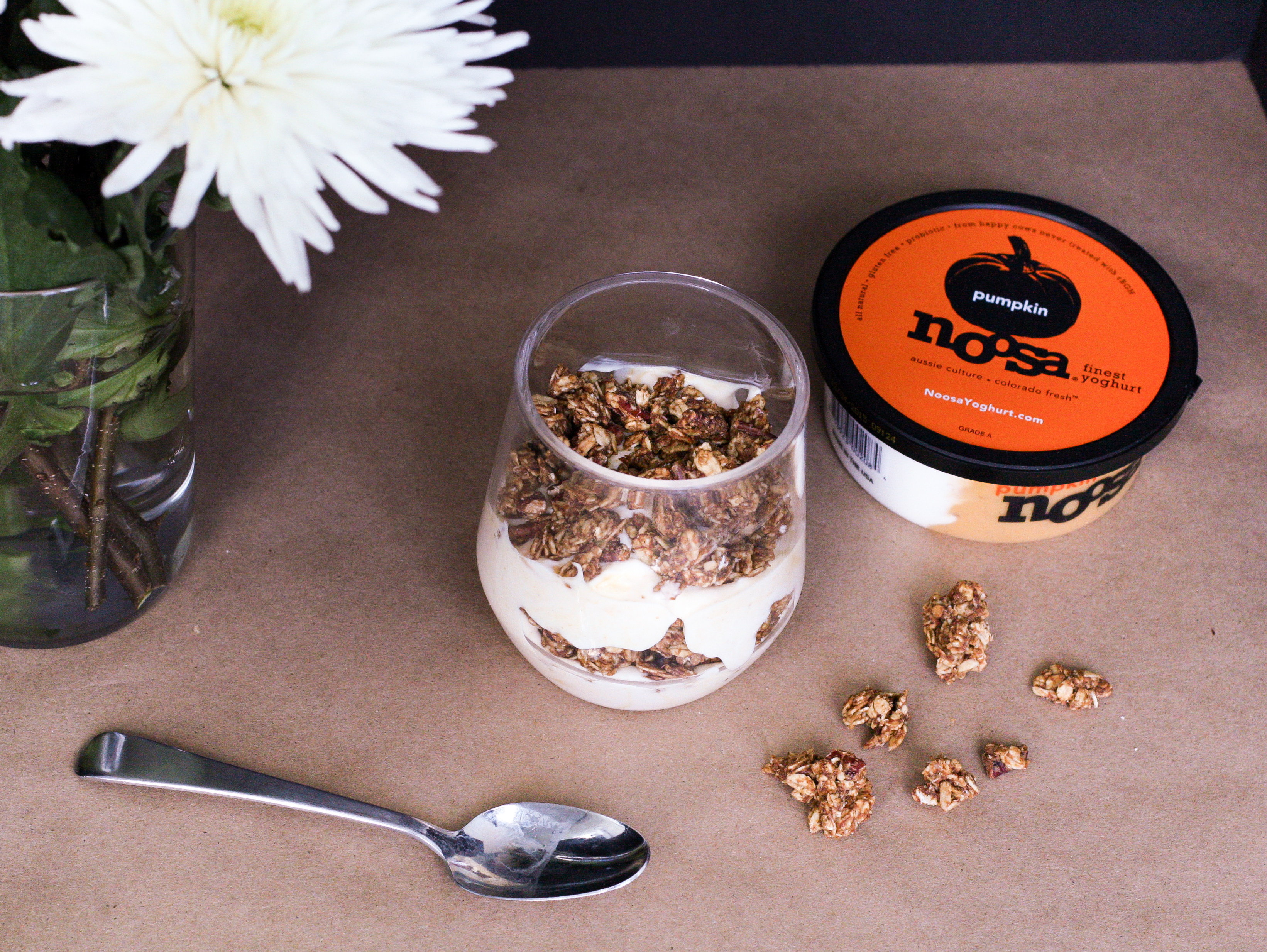 Noosa Pumpkin Yogurt Parfait with Homemade Pumpkin Granola.
