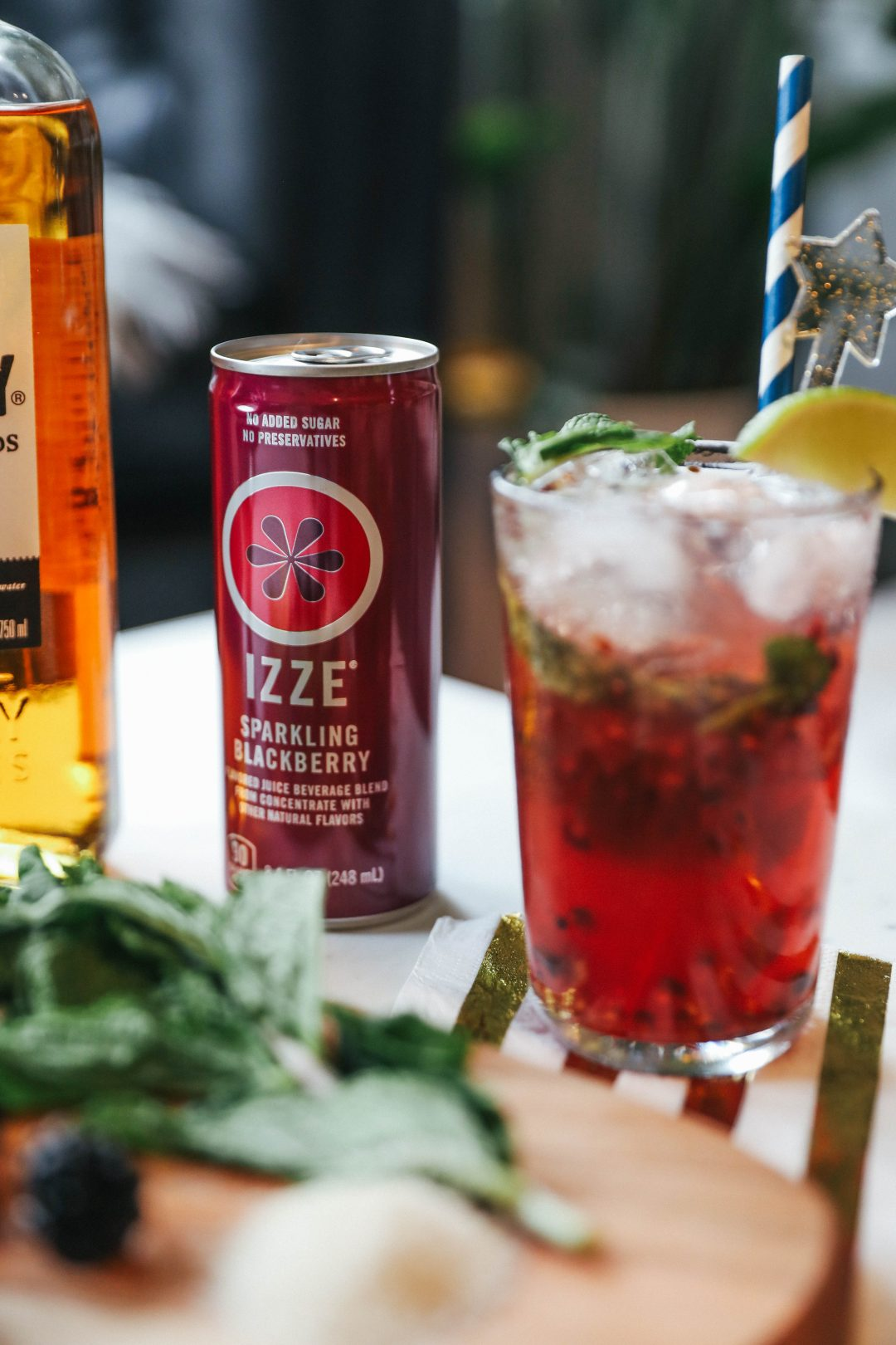 End of Summer Sparkler Cocktail with IZZE Blackberry Sparkling Juice.