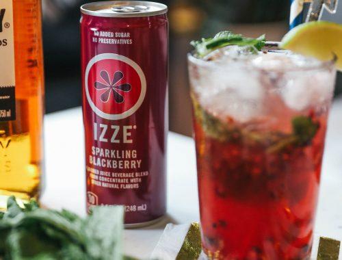End of Summer Sparkler Cocktail with IZZE Blackberry Sparkling Juice.