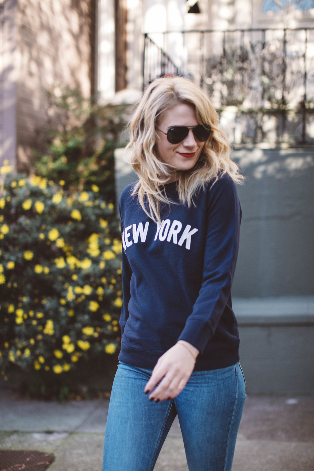 East Coast, Always. // J. Crew New York Sweatshirt paired with Everlane Denim and Chuck Taylor sneakers for a casual weekend look.