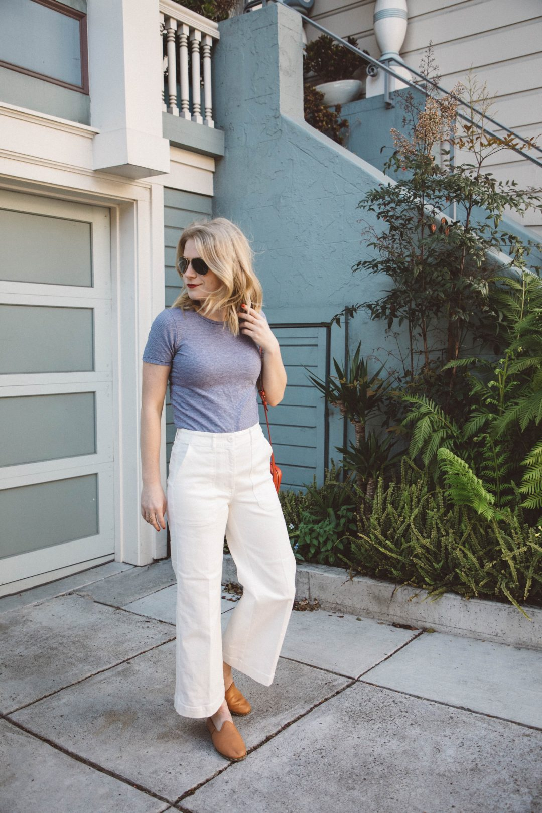 Everlane Wide Leg Crop Pants paired with an Everlane Striped Tee makes for the perfect early summer look.
